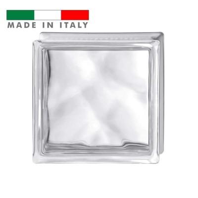 Vetromattone ondulato vetrocemento mattone vetro Trasparente Pure Bormioli 19X19X8
