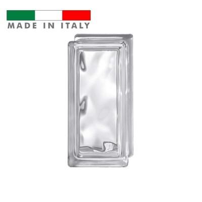 Vetromattone ondulato vetrocemento mezzo mattone vetro Trasparente Pure Bormioli 19X9X8