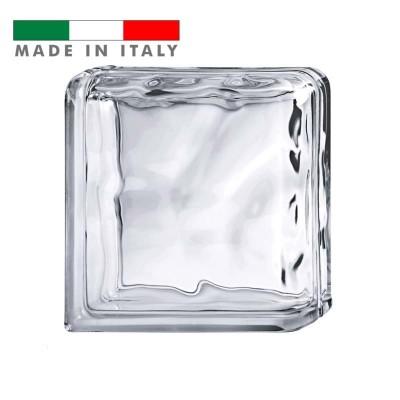 Terminale curvo angolare vetromattone ondulato vetrocemento Trasparente Pure Bormioli 19X19X8