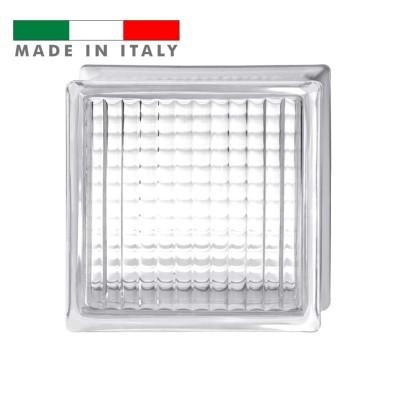 Vetromattone ondulato vetrocemento mattone vetro Bastoncino incrociato quadretti Pure Bormioli 19X19X8