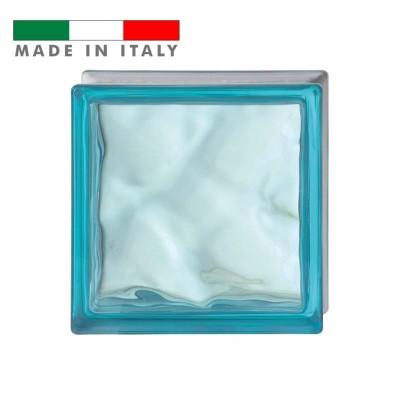 Vetromattone ondulato vetrocemento mattone vetro Azzurro Pure Bormioli 19X19X8