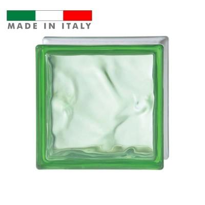 Vetromattone ondulato vetrocemento mattone vetro Lime Pure Bormioli 19X19X8