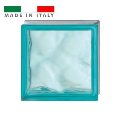Vetromattone ondulato vetrocemento mattone vetro Turchese Pure Bormioli 19X19X8