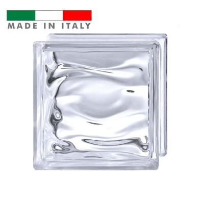 Vetromattone trasparente ondulato vetrocemento mattone vetro Agua Bormioli 19X19X8