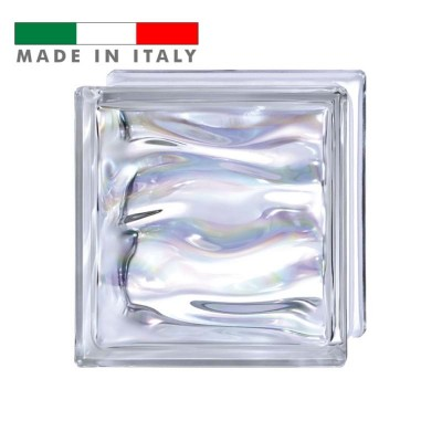 Vetromattone ondulato vetrocemento mattone vetro Perlato Agua prestige Bormioli 19X19X8