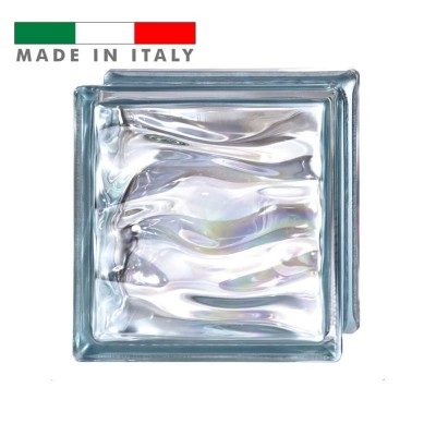 Vetromattone vetrocemento mattone vetro ondulato Polinesia Agua Bormioli 19X19X8