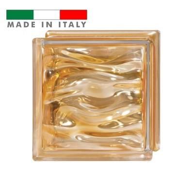 Vetromattone ondulato vetrocemento mattone vetro Ambra Agua Bormioli 19X19X8
