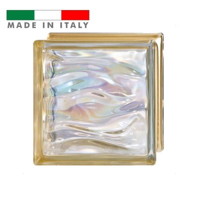 Vetromattone vetrocemento mattone vetro ondulato Oro Agua Bormioli 19X19X8