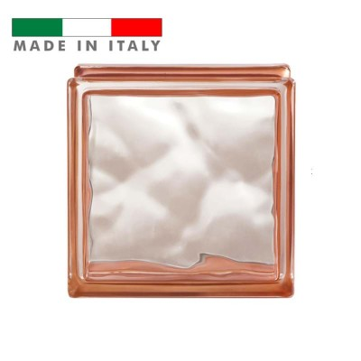 Vetromattone ondulato vetrocemento mattone vetro Arancio Reflejos Bormioli 19X19X8