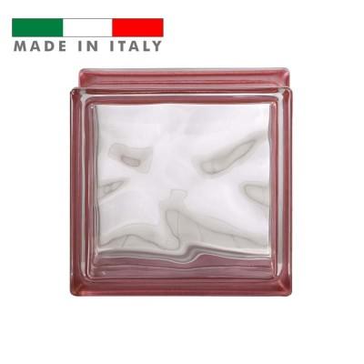 Vetromattone ondulato vetrocemento mattone vetro Rosso Reflejos Bormioli 19X19X8