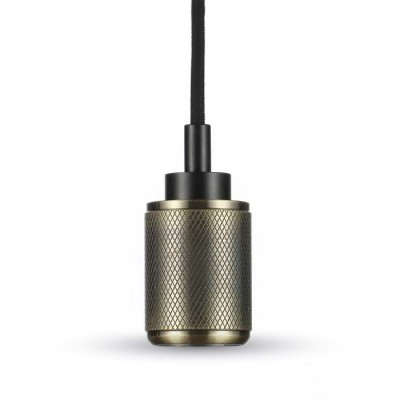Lampadario metallo pendente portalampada E27 Bronzo zigrinato V-Tac VT-7999 3813