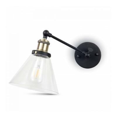 Applique a muro campana vetro lampada E27 bronzo orientabile V-Tac VT-7143 3862