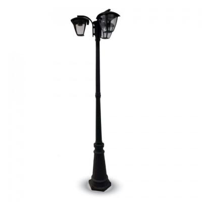 Lampione palo giardino a tre lanterne lampade 199 cm 3 bracci alluminio E27 IP44 esterno V-Tac VT-740 7063