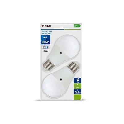 LAMPADINE LED E27 A60 9W SMD BULBO SENSORE CREPUSCOLARE LUCE CALDA 2700K 2 PZ V TAC VT-2109 7285