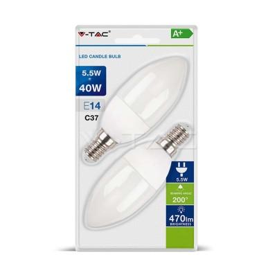 LAMPADINE LED E14 C37 5.5W SMD CANDELA LUCE CALDA 2700K 2 PZ V-TAC VT-2106 7291