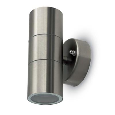 Applique lampada a muro acciaio inox esterno doppia 2xGU10 IP44 V-Tac VT-7622 7500
