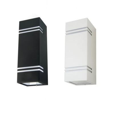 Applique lampada a muro 2x GU10 IP44 doppio quadrato bianco o nero esterno V-Tac VT-7662 7512/7543