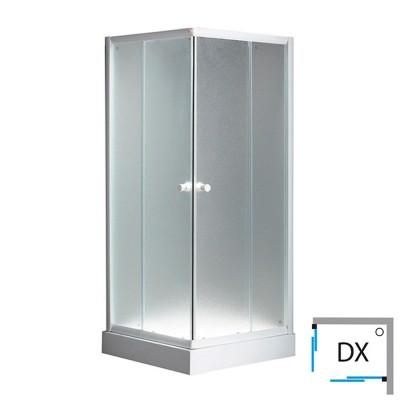 Box doccia 70x90 bianco angolare cristallo perlato 5 mm scorrevole destro H 195