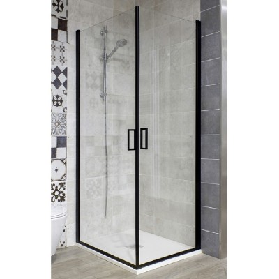Box doccia 70x70 angolare cristallo trasparente 6 mm ante saloon alluminio nero