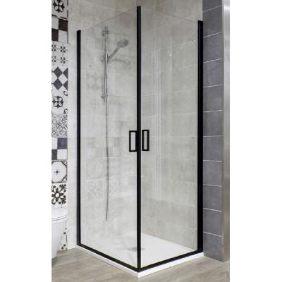 Box doccia 90x70 angolare sinistro cristallo trasparente 6 mm ante battenti saloon alluminio nero