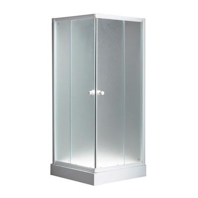 Box doccia bianco angolare cristallo perlato 5 mm scorrevole quadrato 75x75 H 195