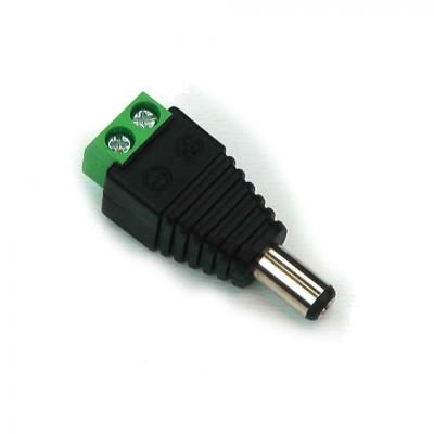 Connettore alimentazione maschio Jack 2.1 per strisce led monocolore a 2 fili