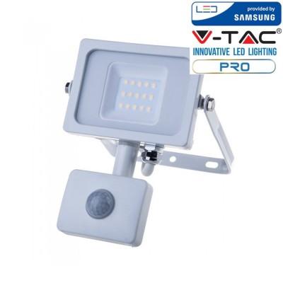 Faretti led 10W sensore movimento e crepuscolare slim bianco esterno Samsung chip IP65 Luce naturale 4000K V TAC PRO VT-10-S 434