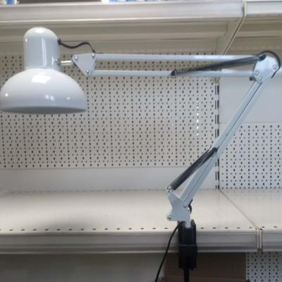 Lampada da tavolo a pinza morsetto portalampada E27 pieghevole bianca