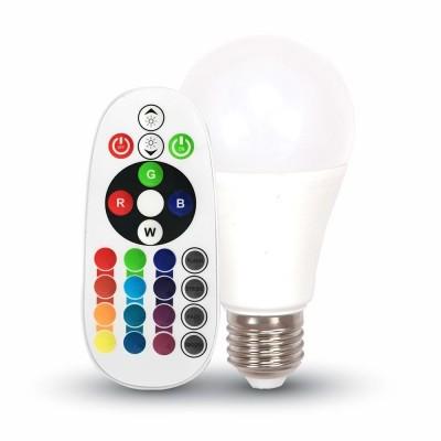 LAMPADINE LED E27 6W=40W RGB-W A60 SMD DIMMERABILE BULBO TELECOMANDO LUCE FREDDA 6400K V TAC VT-2022 7151