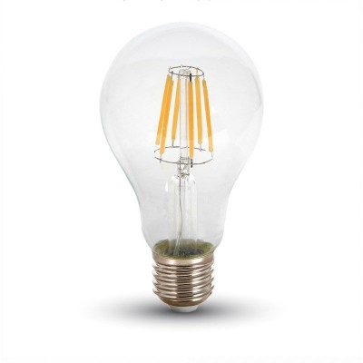 Lampadine led filamento E27 8W vetro trasparente V TAC VT-1978 4407 4408 4409