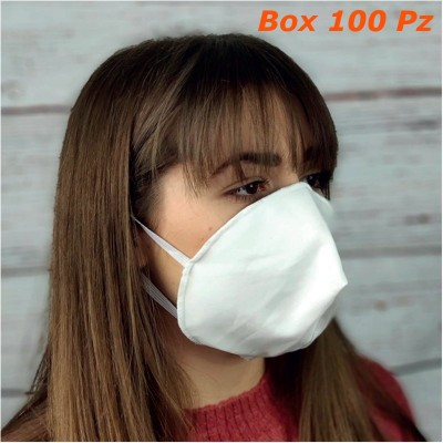 Mascherine 2 strati 100% cotone riutilizzabili lavabili sterilizzabili Conchiglia Box 100 pz
