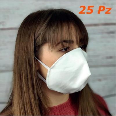 Mascherine filtranti 2 strati cotone 140 gr riutilizzabili conchiglia 25 pz