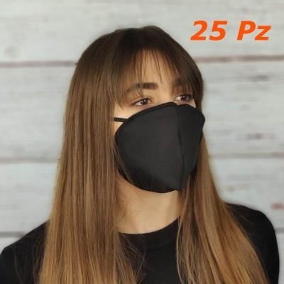 Mascherine 2 strati 100% cotone Nero riutilizzabili lavabili sterilizzabili Conchiglia 25 Pz