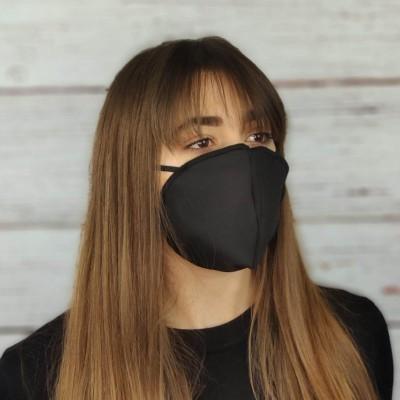 Mascherine 2 strati 100% cotone Nero riutilizzabili lavabili sterilizzabili Conchiglia