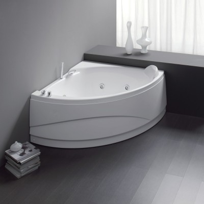 Vasca idromassaggio angolare 133X133 semicircolare incasso acrilico con telaio e pannello Osiride Easy