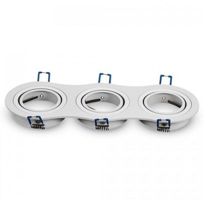 Portafaretto incasso 3 posti GU10 MR16 GU5.3 orientabile alluminio bianco Aigostar 004469