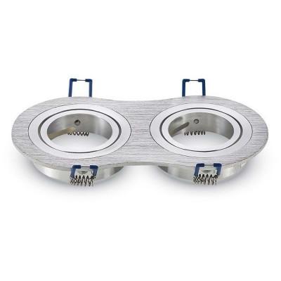 Portafaretto incasso GU10 MR16 doppio rotondo orientabile alluminio spazzolato Aigostar 004483