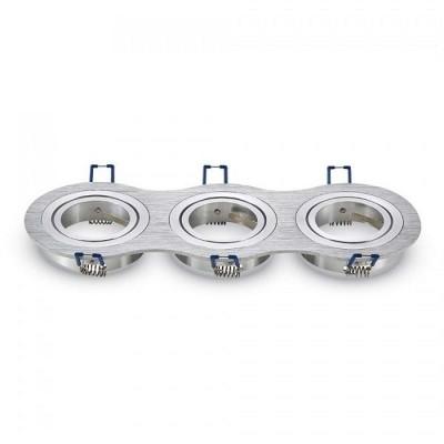 Portafaretti incasso 3 posti GU10 MR16 orientabile rotondo alluminio spazzolato Aigostar 004490
