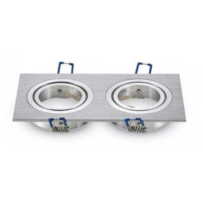 Portafaretto incasso doppio GU10 MR16 GU5.3 quadrato orientabile alluminio spazzolato Aigostar 004544