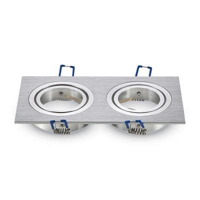 Portafaretto doppio incasso orientabile quadrato 2 posti Alluminio spazzolato GU10 GU5.3 MR16 V Tac VT-783SQ 3608