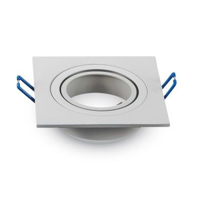 Portafaretto incasso orientabile quadrato alluminio Bianco GU10 GU5.3 MR16 V Tac VT-782RD 3605