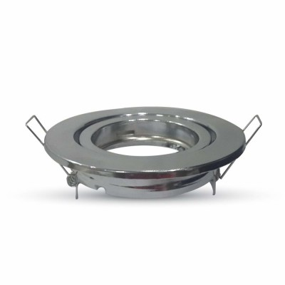 Portafaretto incasso orientabile rotondo alluminio Cromo lucido V Tac VT-7227RD 3471