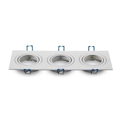 Portafaretto triplo incasso orientabile quadrato 3 posti alluminio Bianco GU10 GU5.3 MR16 V Tac VT-784SQ 3609