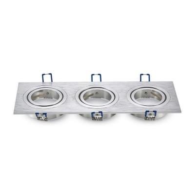 Portafaretto triplo incasso orientabile quadrato 3 posti Alluminio spazzolato GU10 GU5.3 MR16 V Tac VT-784SQ 3610
