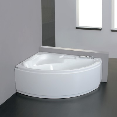 Vasca da bagno angolare 155X105 semicircolare incasso acrilico con pannello frontale Tiberide