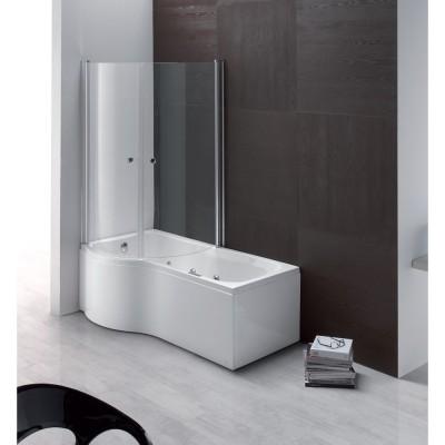 Vasca da bagno con box doccia 170x70 combinata con telaio pannello frontale e cabina incasso acrilico Aqualife Duo