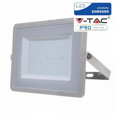 FARETTI LED 100W IP65 SAMSUNG SLIMLINE GRIGIO LUCE CALDA 3000K V TAC VT-100 472