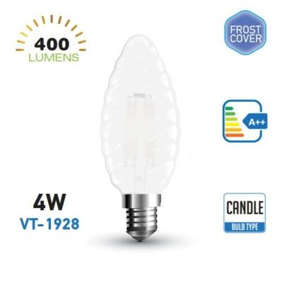 Lampadina led E14 4W torciglione vetro satinato candela twist Luce fredda V Tac VT-1928 7109