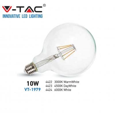 Lampadina led globo filamento vintage 10W E27 G125 sfera Luce fredda V Tac VT-1979 4424