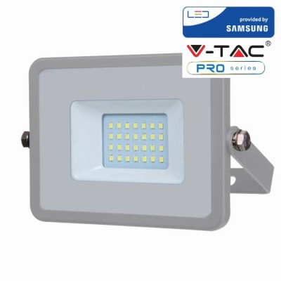 FARETTI LED 20W IP65 SAMSUNG SLIMLINE GRIGIO LUCE NATURALE 4000K V TAC VT-20 446